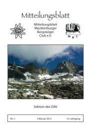 Mitteilungsblatt - Mecklenburger Bergsteigerclub Schwerin eV