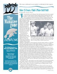 T After 25 Years, Club's Plate Still Full - Save the Manatee Club