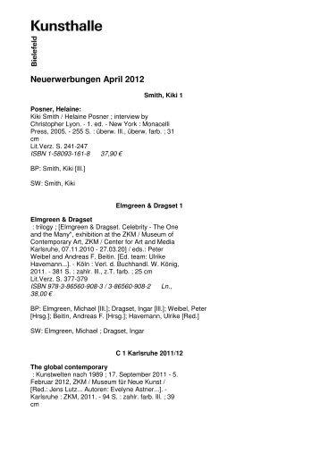 Neuerwerbungen April 2012 - Kunsthalle Bielefeld