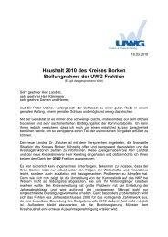 Haushalt 2010 des Kreises Borken Stellungnahme der UWG Fraktion