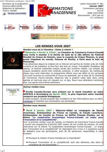 Lettre informations canad for Chambre commerce france