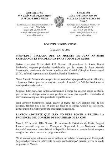 BOLETÍN INFORMATIVO 22 de abril de 2009 MEDVÉDEV ...
