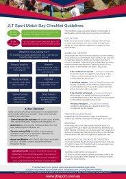 JLT Sport Match Day Checklist Guidelines