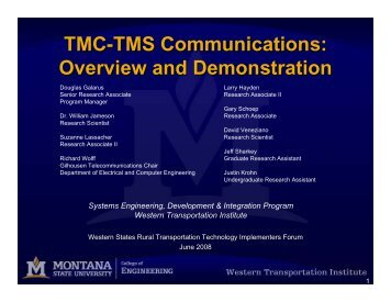 TMC-TMS Communications: Overview and Demonstration - Western ...