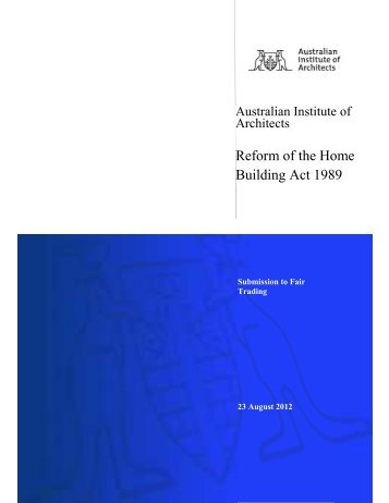 Reform of the Home Building Act 1989 - Australian Institute of ...