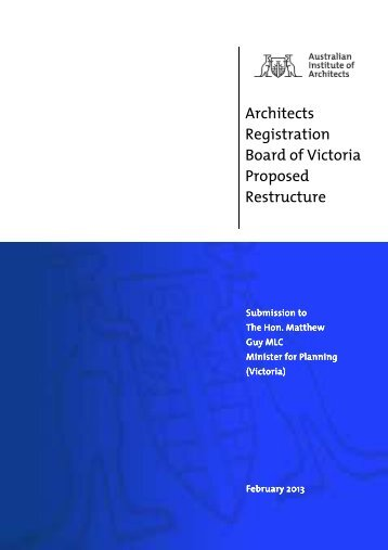Architects Registration Board of Victoria Proposed Restructure