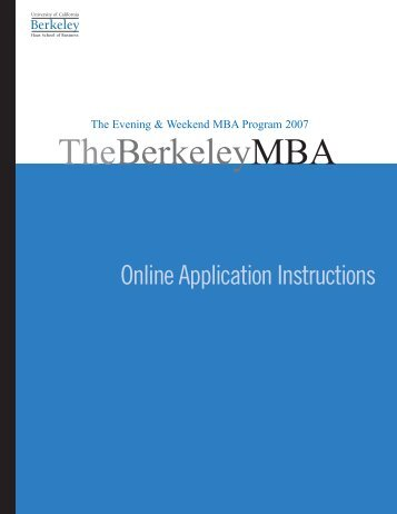 HAAS-EWMBA applica.6 - Berkeley MBA - University of California ...