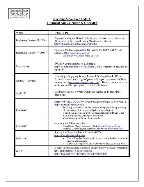 Financial Aid Calendar Checklist Berkeley Mba