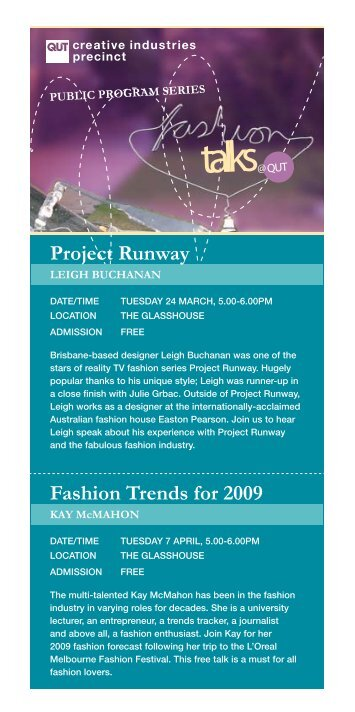 Download the Fashion Talks @ QUT (March-May) Flyer