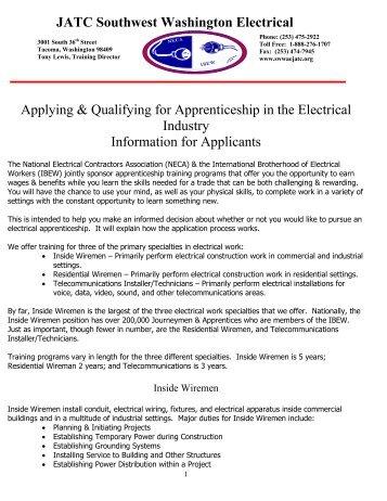 JATC Southwest Washington Electrical Applying & Qualifying for ...
