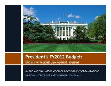 President's FY2012 Budget: - NADO.org