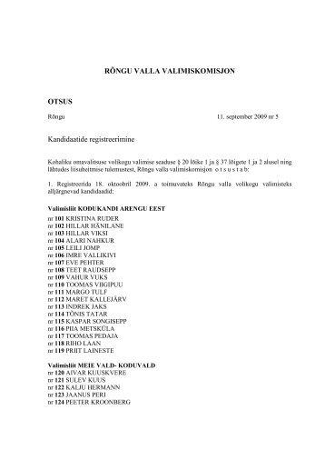 RÕNGU VALLA VALIMISKOMISJON OTSUS ... - Rõngu Vald