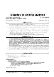 Métodos de Análise Química