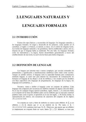 2. LENGUAJES NATURALES Y LENGUAJES FORMALES