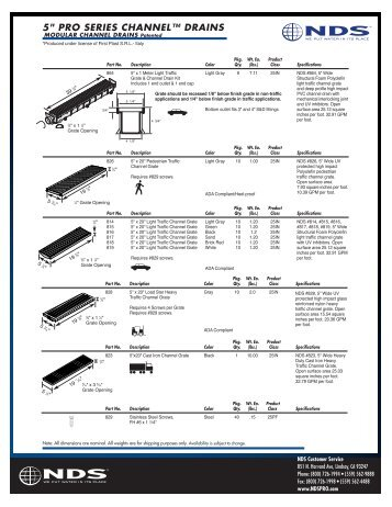 "5"" PRO SERIES CHANNEL™ DRAINS - Drainage Solutions, Inc."