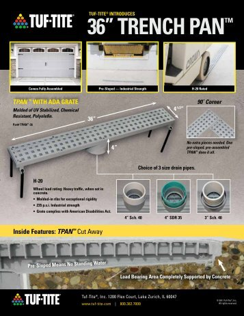 "36"" TRENCH PAN™ - Drainage Solutions, Inc."