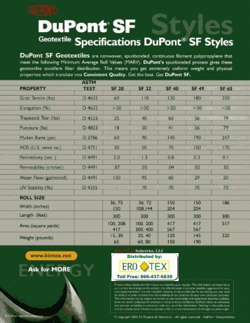 """Ge°t°""""""""""""e Specifications DuPont® SF Styles"""