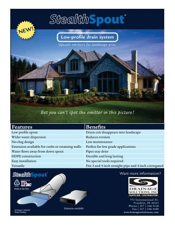 StealthSpout Brochure - Drainage Solutions, Inc.