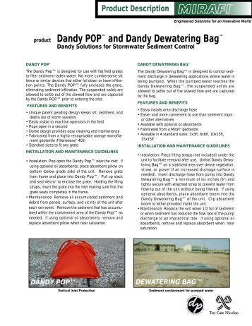Dandy POP and Dandy Dewatering Bag - Drainage Solutions, Inc.