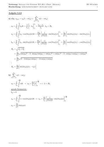 Aufgabe I.2.6 a) allg: up(t) = up(t − mt p) = ∑ u(t − mt 1 tp ... - EIT Board
