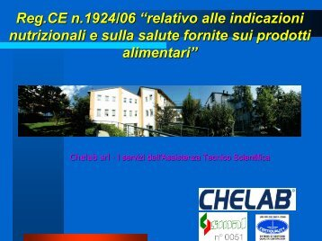 INDICAZIONE NUTRIZIONALE - CheLab