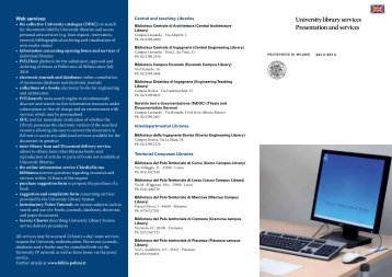 University library services Presentation and ... - Politecnico di Milano