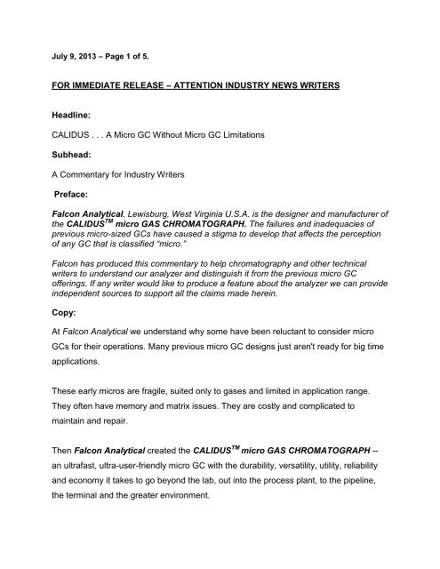 FOR IMMEDIATE RELEASE – ATTENTION     - Falcon Analytical