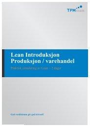 Lean Introduksjon Produksjon / varehandel