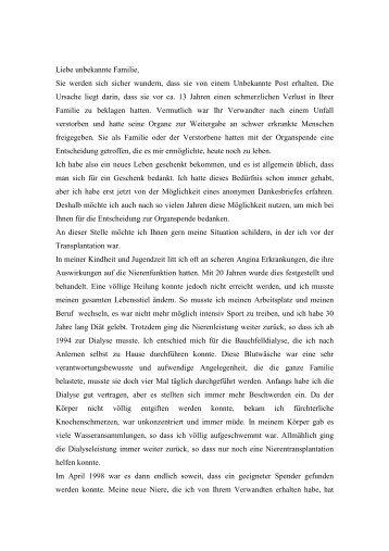 Dankesbrief eines Organempfängers (9 kB) - Stiftung Lebendspende