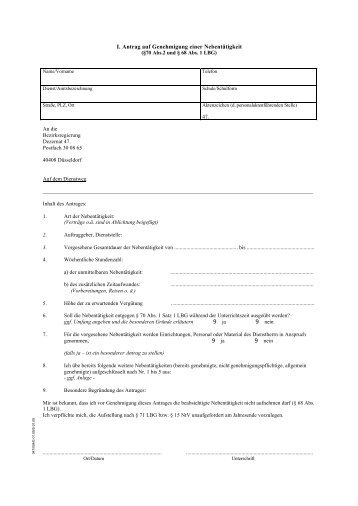 i antrag auf genehmigung einer nebenttigkeit - Antrag Nebenttigkeit Muster