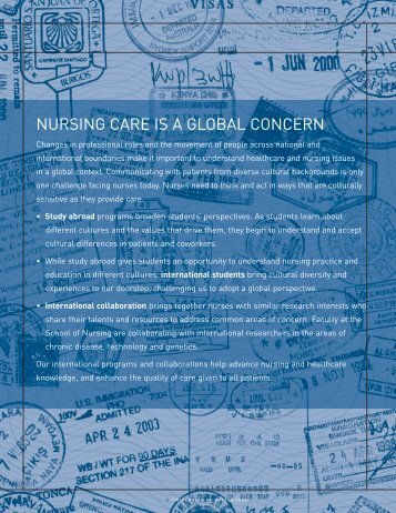 NURSING CARE IS A GLOBAL CONCERN - School of Nursing