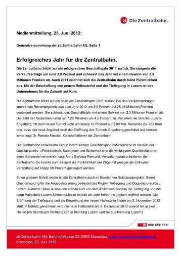 Erfolgreiches Jahr für die Zentralbahn. - roi-online.ch