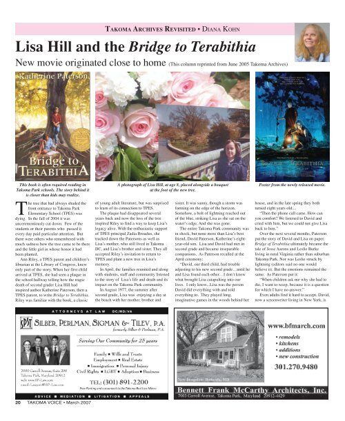 Lisa Hill and the Bridge to Terabithia - Historic Takoma Inc.