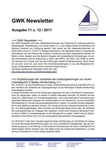 November und Dezember - GWK - Gesellschaft für Wirtschafts