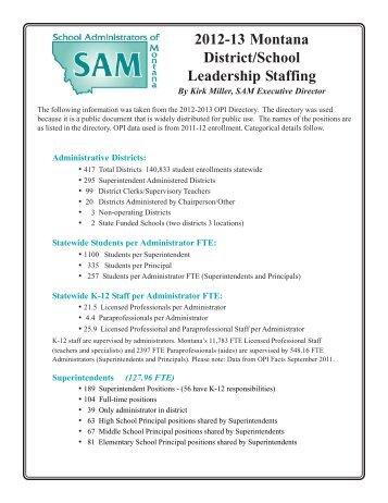 2012-13 Montana District/School Leadership Staffing