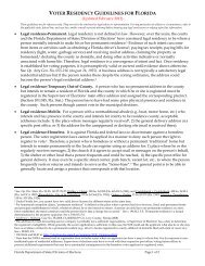 voter residency guidelines for florida - Florida Department Of State