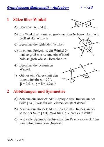 7 – G8 1 Sätze über Winkel 2 Abbildungen und Symmetrie *