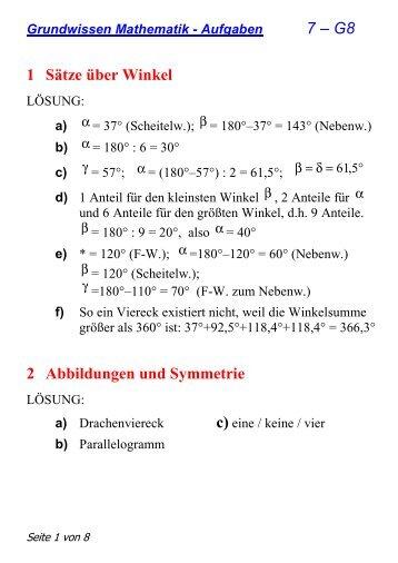 7 – G8 1 Sätze über Winkel 2 Abbildungen und Symmetrie