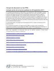 Groupe de discussion sur les IFRS - Normes d'information financière ...
