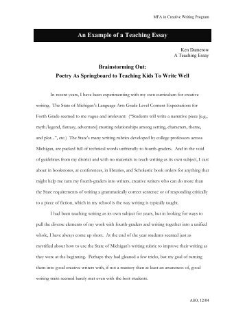 An Example of a Teaching Essay - Goddard College's Intranet