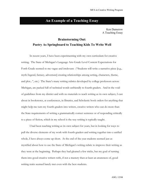 Example teaching essays