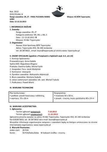 Propozycje ZR ZT B 12-13.10.2013 - Małopolski Związek Jeździecki