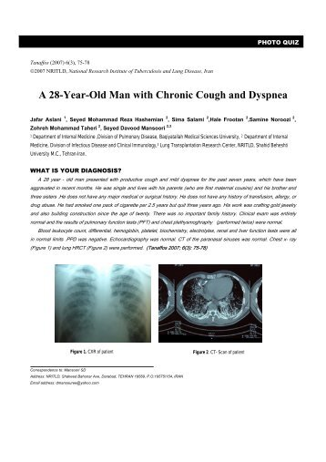 A 28-Year-Old Man with Chronic Cough and Dyspnea - Tanaffos