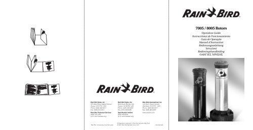 Rain Bird 7005 8005 Rotor Sprinkler Owners Manual Irrigation Direct