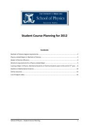 Student Course Planning for 2012 - School of Physics - University of ...