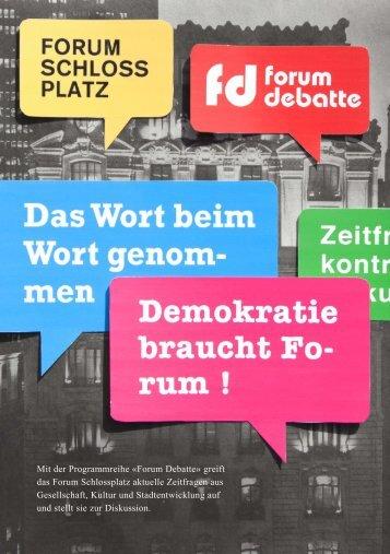 Mit der Programmreihe «Forum Debatte» greift ... - Politische Bildung