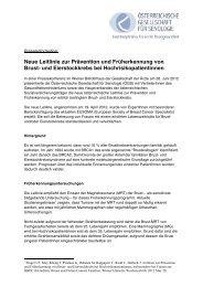 Neue Leitlinie zur Prävention und Früherkennung von Brust- und ...
