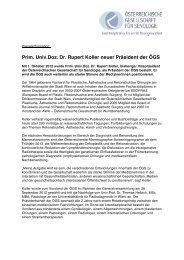 Prim. Univ.Doz. Dr. Rupert Koller neuer Präsident der ÖGS