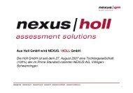 Aus Holl GmbH wird NEXUS / HOLL GmbH : Die Holl GmbH ist seit ...
