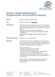 """Facebook Marketing für Fortgeschrittene"" am 07.05 ... - Thomas Hutter"
